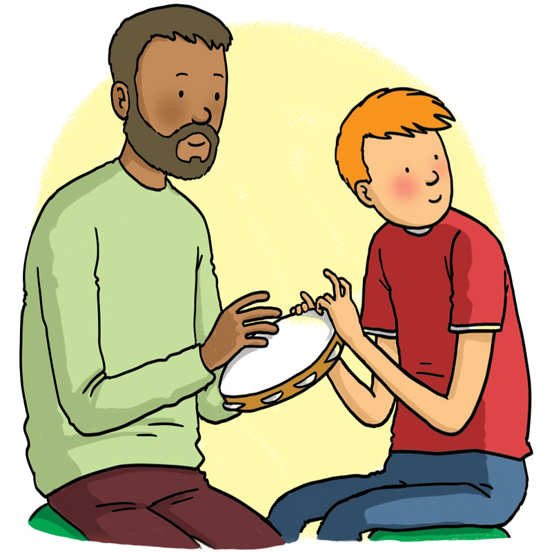 Man and boy play on a tambourine
