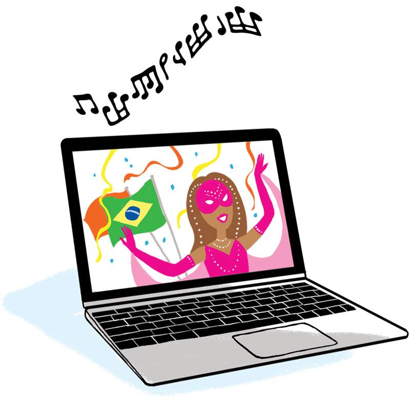 Laptop computer playing music