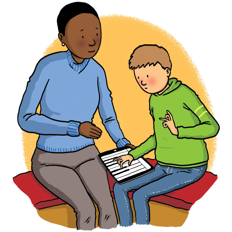 woman shows boy a piano on a touch screen