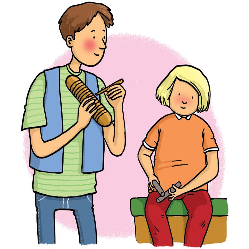 man plays an instrument for a boy