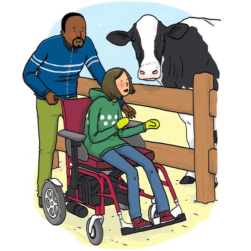 Girl in wheelchair listening to a cow