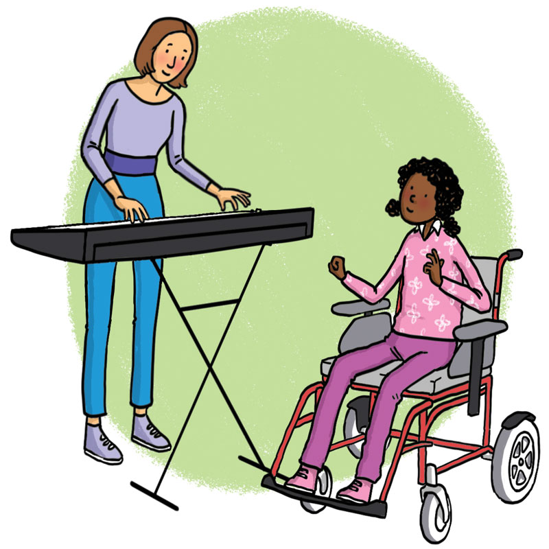 woman plays a keyboard for a girl in a wheelchair
