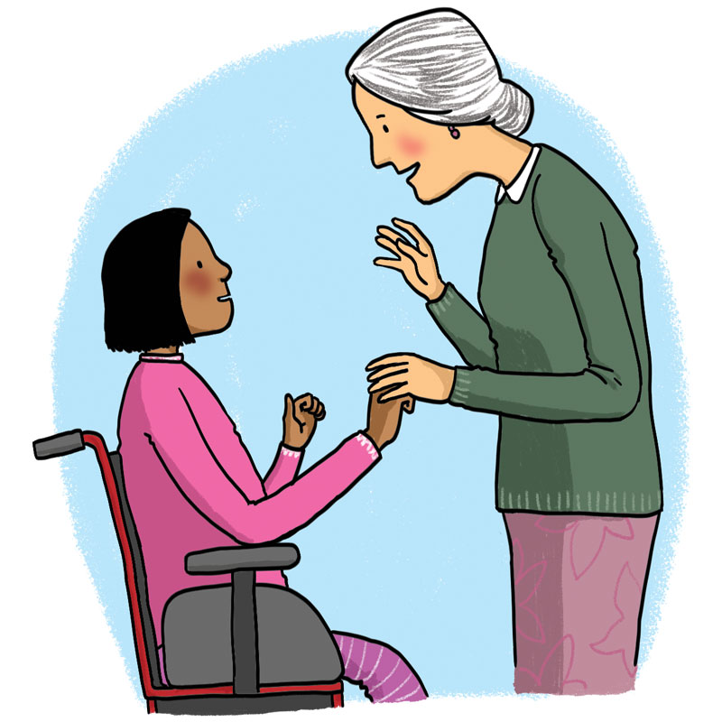 Girl and older woman playing a sound game