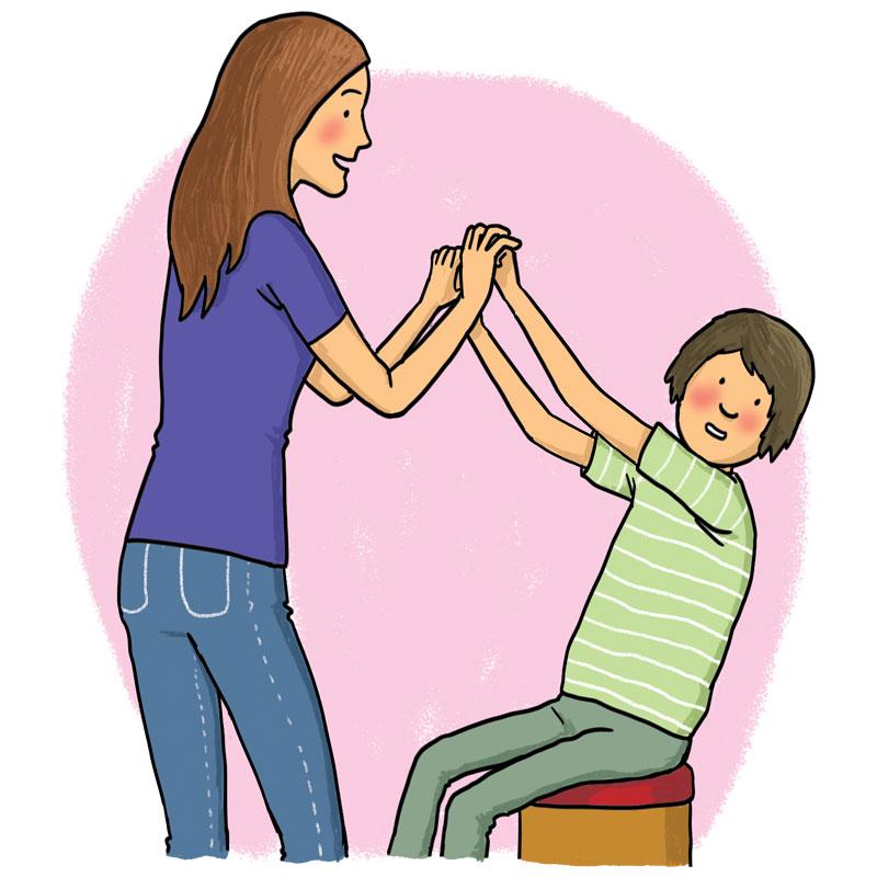 woman and boy dancing