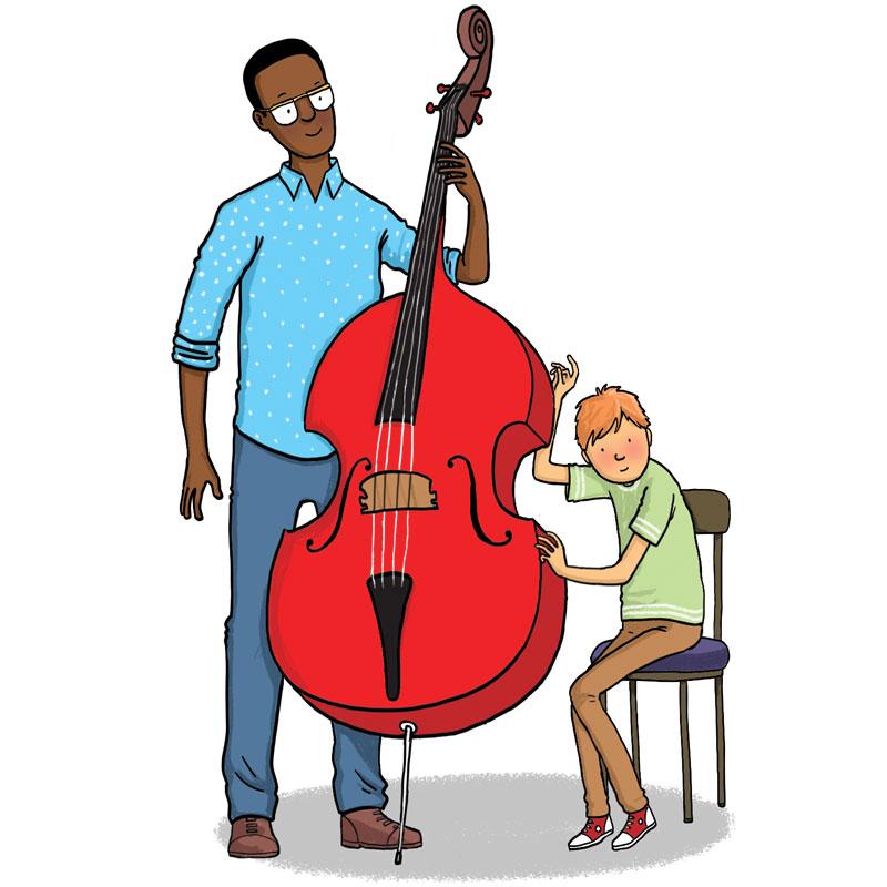 man helps boy play double bass
